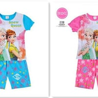 96pcs Frozen Suit Outfits Kids Sets Children Clothing Short Sleeve Summer Shorts Child Clothes KidChildren Set Kids Suit D244
