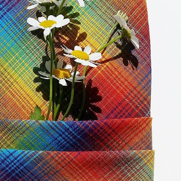 Homespun and Handmade Rainbow Plaid Fabric Napkins Cotton Soft Absorbent Mother's Day Gift for Her for Your Table Decor