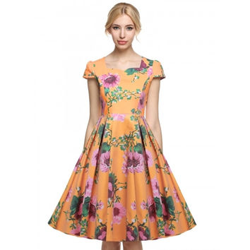 1950's Vintage Style Women Cap Sleeve Floral Spring Garden Party Picnic Cocktail Swing Tea Dress