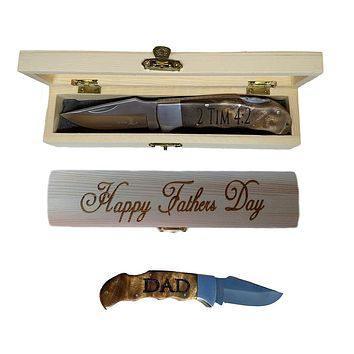 Father's Day Gift with Engraved Pocket Knife & Engraved Gift Box, Personalized Present