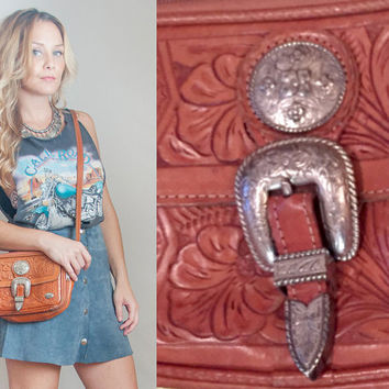 70s Tooled Leather Saddle Bag Purse | Small Leather Crossbody Purse | Western Boho Chic Hippie Handbag Southwestern Sterling Silver Buckles
