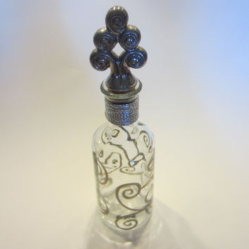 Silver Painted Pewter Glass Bottle Geometric Finial  Vetreria Etrusca