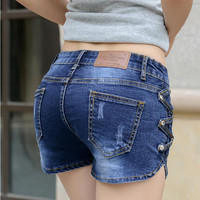 Flounced denim shorts female spring summer shorts  thin large size women jeans 2017 fashion new jeans