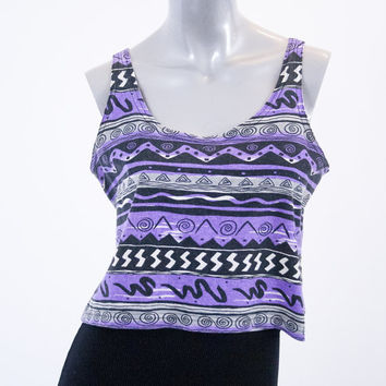 90s OP tribal cropped top, purple black white crop tank shirt, vintage 1990s ocean pacific, fashion summer spring 2014 urban retro retrofit