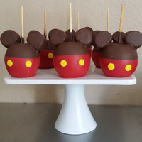 12-mickey mouse chocolate dipped apples with ears