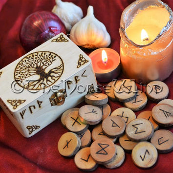 Rune Set with Yggdrasil Box Elder Futhark Runes Tree of Life Box Viking Runes Norse Runes Asatru Wood Runes Norse Mythology Wicca Pagan