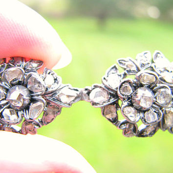 Georgian Diamond Brooch Pin, Rose Cut Diamonds, Charming Flower and Leaf Design, Silver, with Provenance
