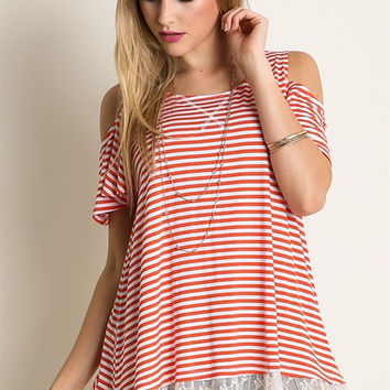 Umgee Striped Cream/Coral Lace Trim Cold Shoulder Tunic Top SML