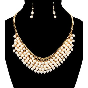 Layered Cream Pearl and Gold Chain Necklace Set