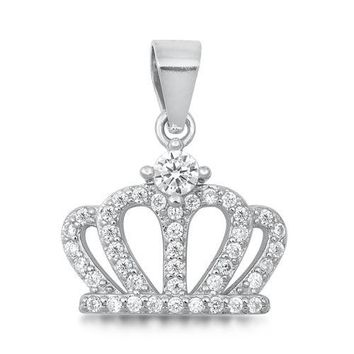 1.9TCW Pave Lab Diamond Crown Necklace Pendant