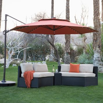 Coral Coast 11 ft. Steel Lighted Offset Olefin Patio Umbrella & Base | Hayneedle