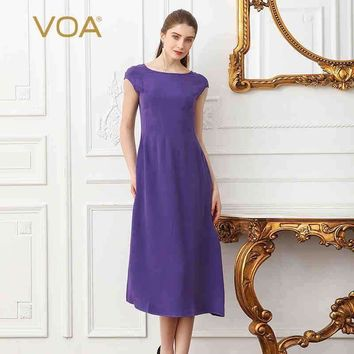 Voa Summer Lavender Purple Plus Size High Waist Slim Women Midi Dress Brief Solid Heavy Silk Office Lady A Line Dress A1268
