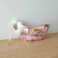 Vintage carnival mask, pink gold eye mask, masquerade, polyester mask ornament, pink and gold Venetian style mask ornament, early eighties