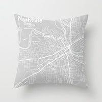 Vintage Nashville Gray Throw Pillow by Upperleft Studios
