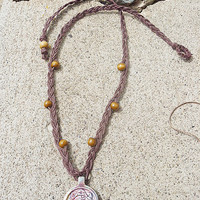 Long Unisex Earthly Om Hemp Necklace handmade jewelry hippie meditation
