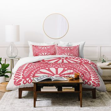 Natalie Baca Fiesta De Flores In Red Duvet Cover