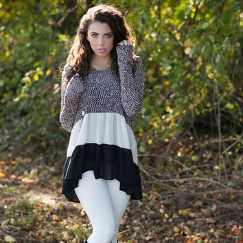 Sweater with Irregular Chiffon Hem