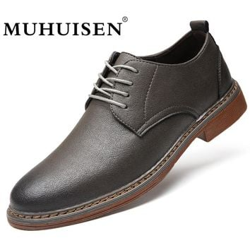MUHUISEN 2018 Spring Autumn Men's Shoes Casual Leather Lace-Up Flats Fashion Breathable