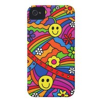 Smiley Face Rainbow and Flower Hippy Pattern Case-Mate iPhone 4 Cases from Zazzle.com