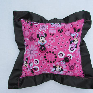 Satin Minnie Mouse pillow/black satin