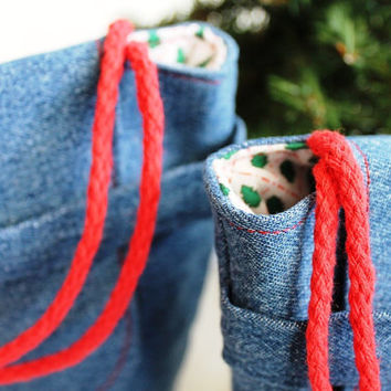 Christmas Tree Gift Bags Reusable Upcycled Denim Small Gift Tote Retro Vintage Red Green Holiday Wrapping (set of 2) --US Shipping Included
