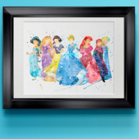 Watercolor Disney Princesses Home Print | 8 x 10 | Wall Decor