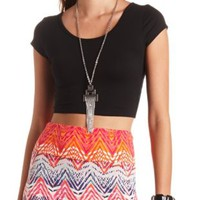 Cap Sleeve Cross-Back Crop Top by Charlotte Russe