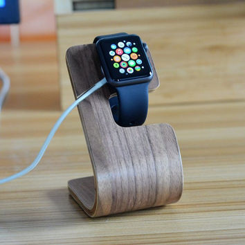 Bent Polywood iWatch Charger Holder Apple Watch dock iPhone wood dock Desktop Stand Holder Charger Dock Docking Station For Apple Watch iPhone charging stand