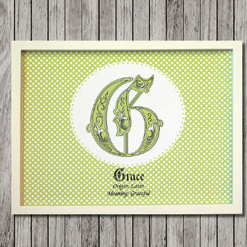 Green Baby Name Meaning Custom Monogram Nursery Print ready to frame custom made for either boy or girl. Great baby shower gift