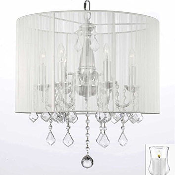 "Crystal Chandelier Chandeliers With Large White Shade and VOTIVE CANDLS! H 19.5"" x W 18.5"" - For Indoor / Outdoor Use! Great for Outdoor Events, Hang from Trees / Gazebo / Pergola / Porch/Patio/Tent! - F7-B31/1126/6"