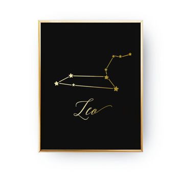 Leo Print, Zodiac Print, Leo Constellation, Real Gold Foil Print, Zodiac Sign, Leo Zodiac Poster, Zodiac Constellation, Astrology Poster