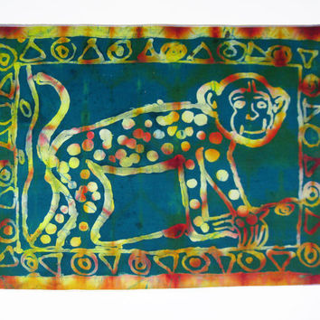 Batik Wax Print Spotted Monkey - African Wallhanging - Supporting Deaf in Ghana