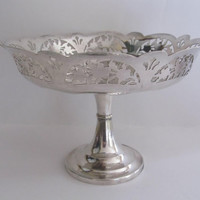 Vintage Silverplate Pedestal Compote Filigree Shabby Chic Candy Dresser Vanity Dish