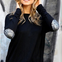 Black Long Sleeve Sequined Elbow Patch Asymmetrical Top
