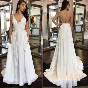 Long White Prom Dress, Backless Evening Dress