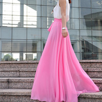 High Waist Maxi Skirt Chiffon Silk Skirts Beautiful Bow Tie Elastic Waist Summer Skirt Floor Length Long Skirt (037), #109