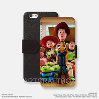 Woody Buzz Light year iPhone Samsung Galaxy leather wallet case cover 153