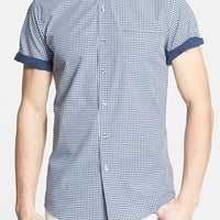 Topman Slim Fit Short Sleeve Gingham Shirt