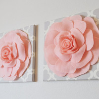 "TWO Wall Flowers -Light Pink Roses on Gray and White Tarika Print 12 x12"" Canvases Wall Art- Baby Nursery Wall Decor-"