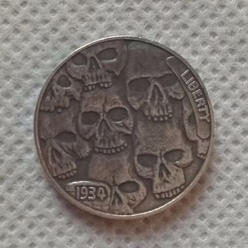 Hobo Nickel Coin 1934 D BUFFALO NICKEL RARE HAND CARVED
