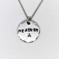 Handstamped Jewelry / Hand Stamped Heathen Necklace /  Celtic / Scottish / Irish / Isle Of Man / Brittany / Welsh / Britannia / Outlander