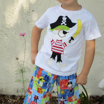 Boys Pirate Themed Shirt and Short Set with Appliques 6 mo to 4T