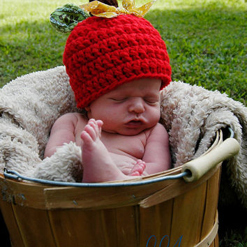 Apple Hat, Baby Hat, Fall Apple Hat, Photography Prop, Photo Prop, Fall, Halloween, Halloween Costume, Newborn, Baby, Hat, Beanie