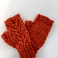 Hand  knit fingerless mitts. Texting gloves.