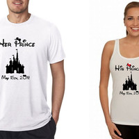 Disney His and Her T-Shirt/Tank Top CUSTOM Combo (Multi Color Choices) Her Prince His Princess Disney Castle Shirts