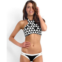 Triangle Printed Sexy Fashion Halter Top Bikini Swimwear _ 131