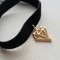 Velvet Choker, gold diamond charm, geometric triangle choker, gold diamond outline pendant, simple modern necklace