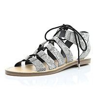 River Island Womens Black snake print gladiator sandals