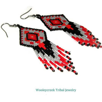 Tribal Beaded Earrings Navajo Rug Design in Black Red And Gray With Fringe