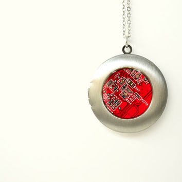 Geekery Steampunk Locket Necklace, Gothic Necklace, Red Industrial Pendant, Space Jewelry, Circuit board